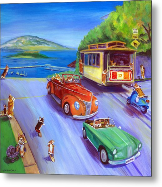 Corgi Trolley On Hyde Street Metal Print