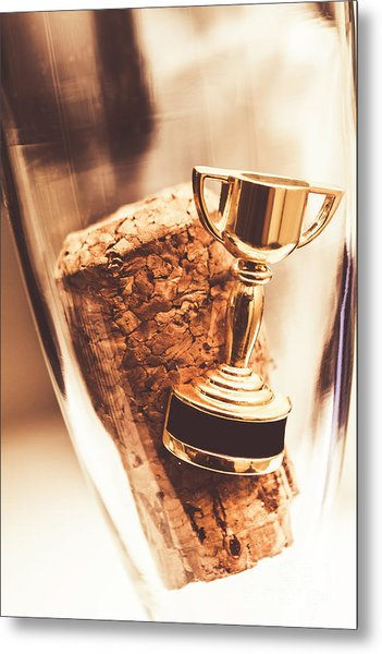 Cork And Trophy Floating In Champagne Flute Metal Print