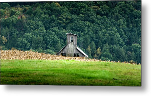 Corn Field Silo Metal Print