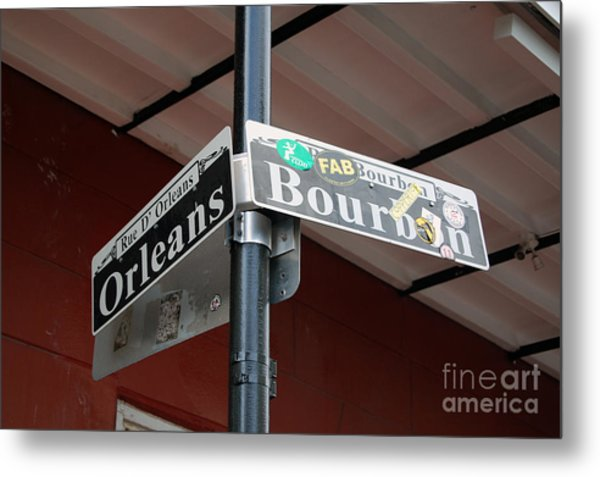 Corner Of Bourbon Street And Orleans Sign French Quarter New Orleans Metal Print