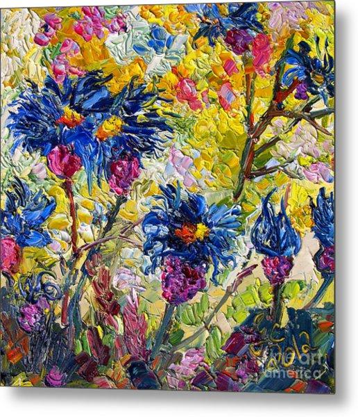 Cornflowers Impressionist Oil Painting Metal Print