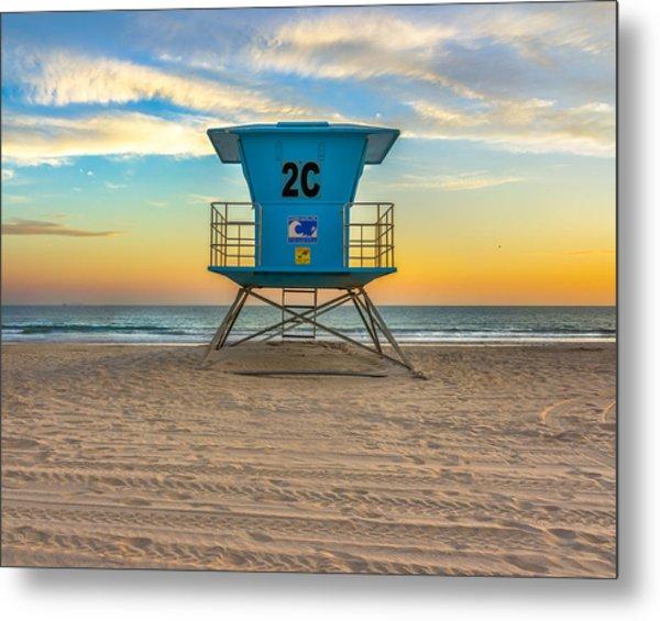 Coronado Beach Lifeguard Tower At Sunset Metal Print