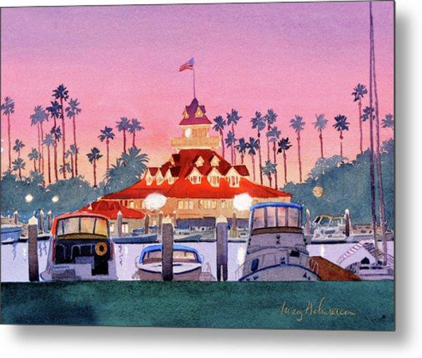 Coronado Boathouse After Sunset Metal Print