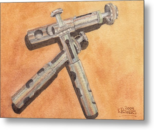 Corroded Trumpet Pistons Metal Print