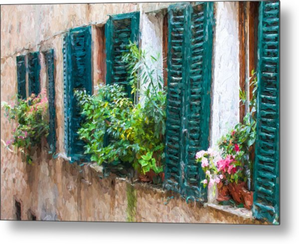 Cortona Window Flowers Metal Print