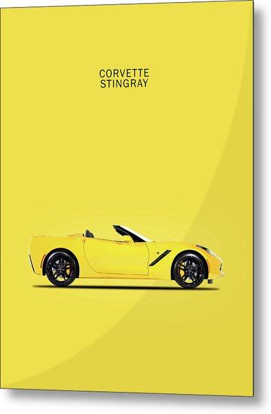 Corvette In Yellow Metal Print