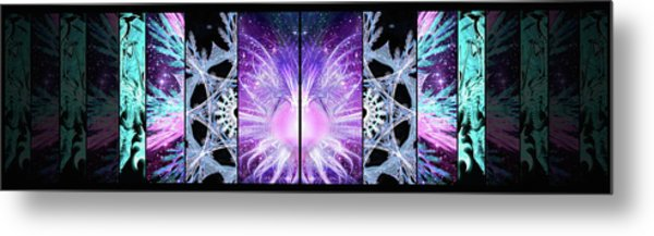 Metal Print featuring the mixed media Cosmic Collage Mosaic Left Mirrored by Shawn Dall