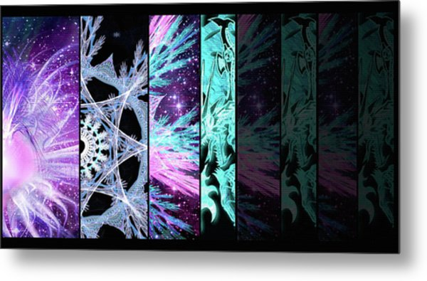 Metal Print featuring the mixed media Cosmic Collage Mosaic Left Side Flipped by Shawn Dall