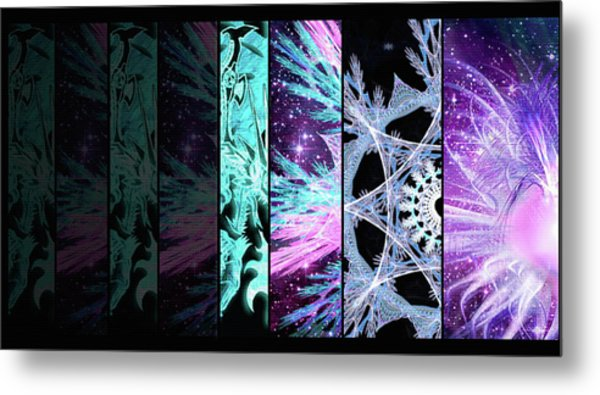 Metal Print featuring the mixed media Cosmic Collage Mosaic Left Side by Shawn Dall