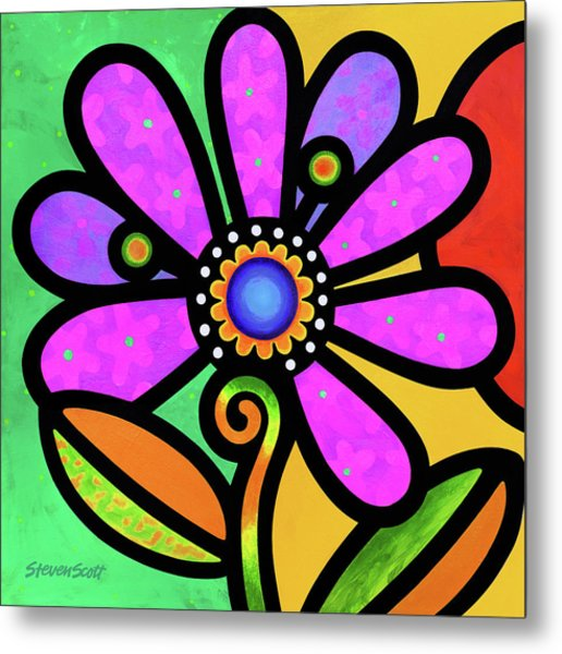 Cosmic Daisy In Pink Metal Print