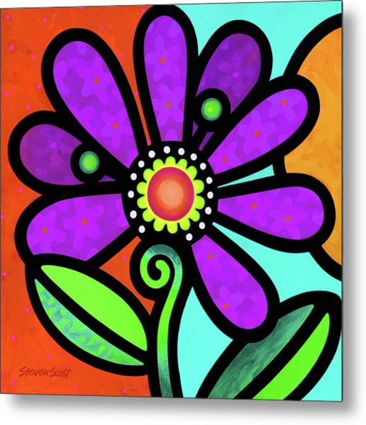 Cosmic Daisy In Purple Metal Print