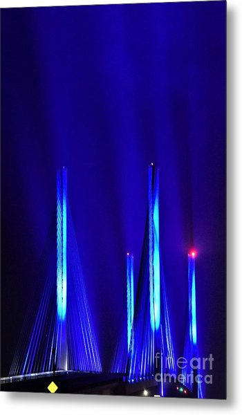 Blue Light Rays - Indian River Inlet Bridge Metal Print