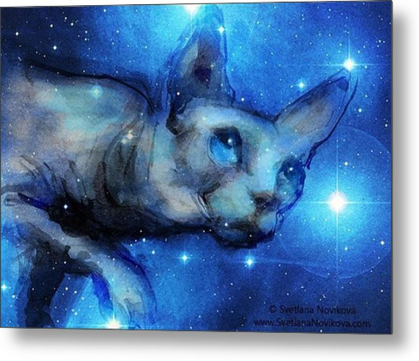 Cosmic Sphynx Painting By Svetlana Metal Print