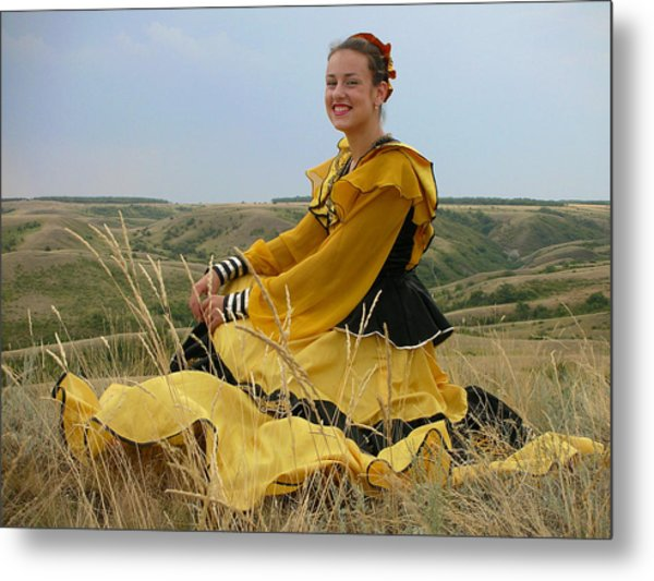 Cossack Young Lady Metal Print