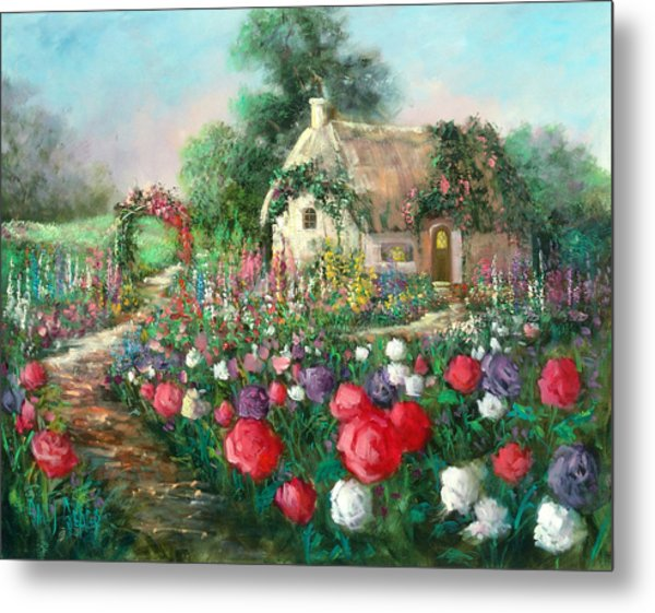Cotswold Rose Garden Metal Print by Sally Seago