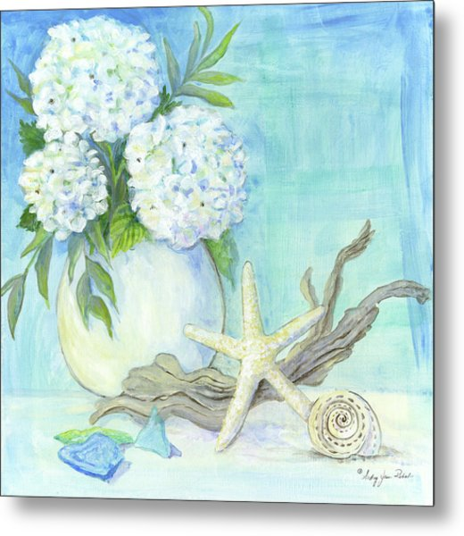 Cottage At The Shore 1 White Hydrangea Bouquet W Driftwood Starfish Sea Glass And Seashell Metal Print
