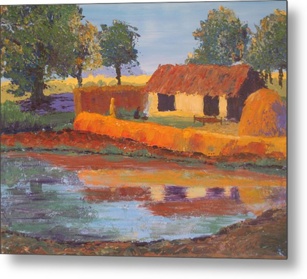 Cottage By The Pond Metal Print by Art Nomad Sandra  Hansen
