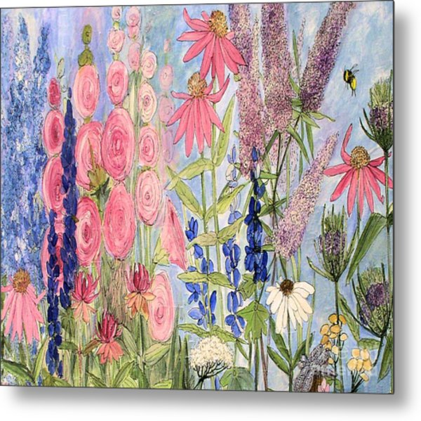 Cottage Flowers With Dragonfly Metal Print
