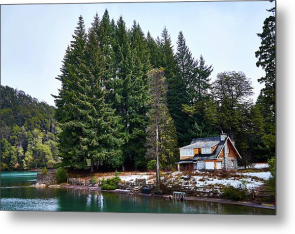 Little Cottage And Pines In The Argentine Patagonia Metal Print