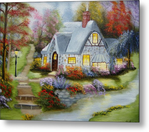 Cottage In Fall Metal Print