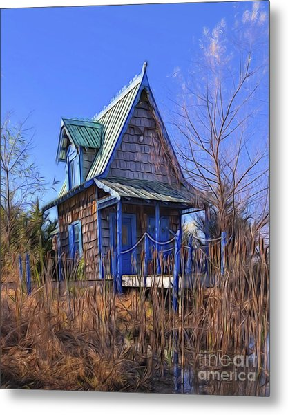Cottage In The Willows Metal Print