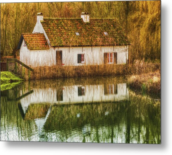 Cottage Reflection Metal Print