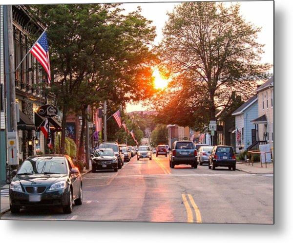 Cottage Street Summer Sunset Metal Print
