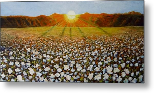 Metal Print featuring the painting Cotton Field Sunset by Jeanette Jarmon