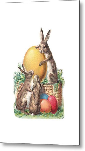Metal Print featuring the digital art Cottontails And Eggs by Reinvintaged