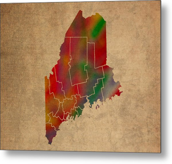 Counties Of Maine Colorful Vibrant Watercolor State Map On Old Canvas Metal Print