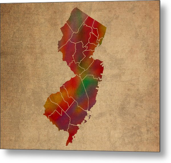 Counties Of New Jersey Colorful Vibrant Watercolor State Map On Old Canvas Metal Print