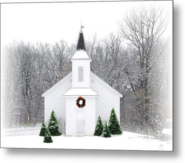 Country Christmas Church Metal Print