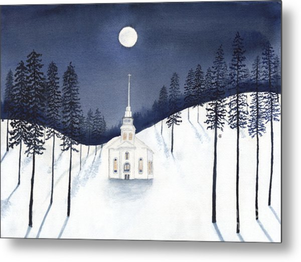 Country Church In Moonlight 2, Silent Night Metal Print