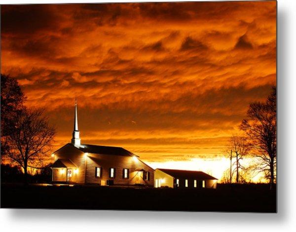 Country Church Sundown Metal Print by Keith Bridgman
