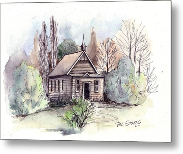 Country Church Metal Print by Val Stokes