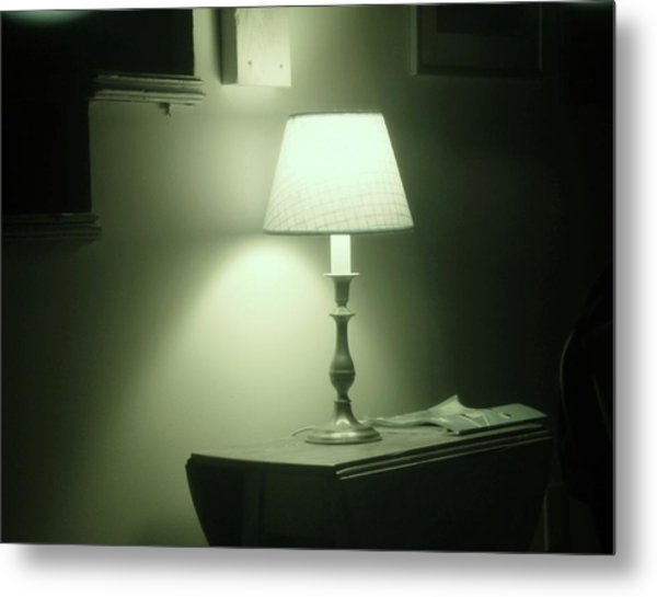 Country Lamp Metal Print by Florene Welebny