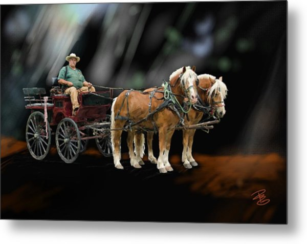 Country Road Horse And Wagon Metal Print