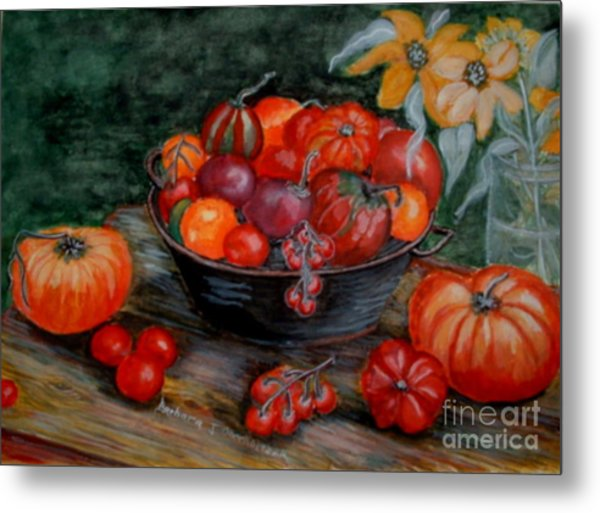 Country Tomatos Metal Print by Barbara Oberholtzer
