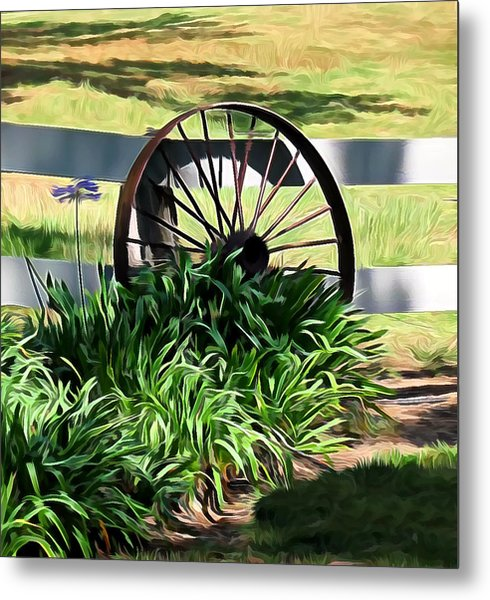 Country Wagon Wheel Metal Print