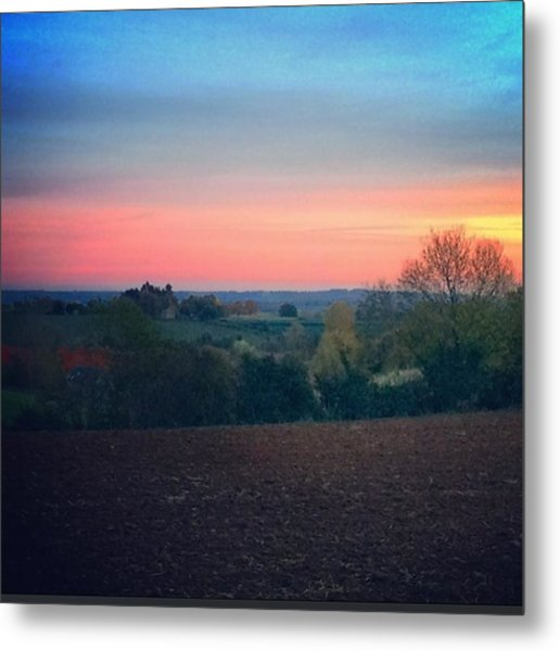 Country Walk At Dusk #family #country Metal Print