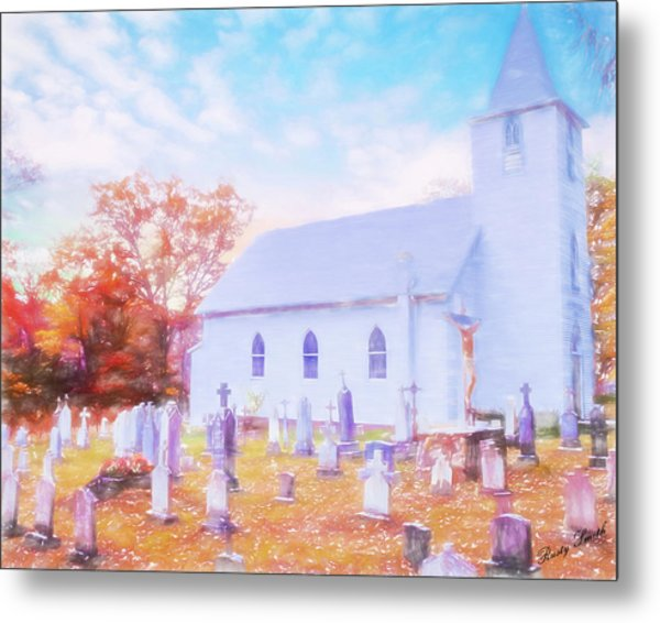 Country White Church And Old Cemetery. Metal Print
