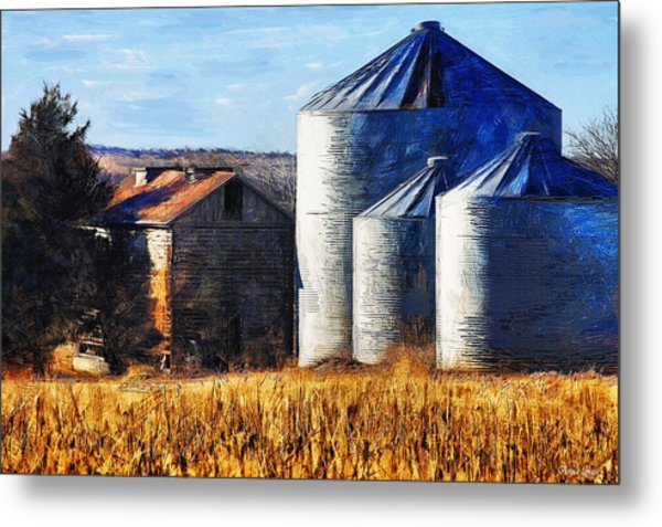 Countryside Old Barn And Silos Metal Print