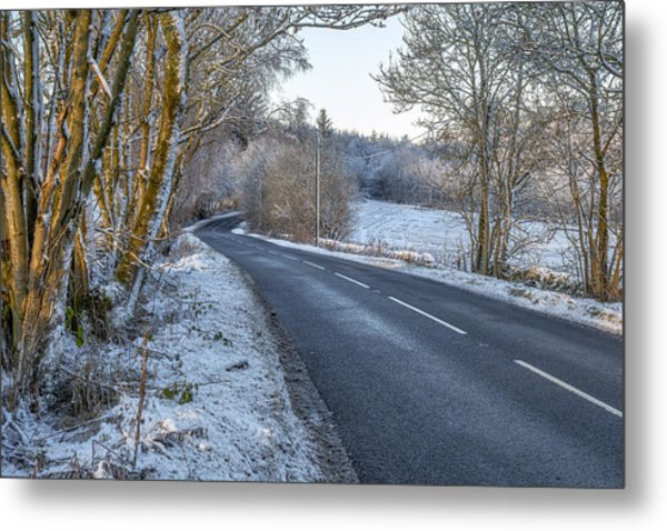 Countryside Road In Central Scotland Metal Print