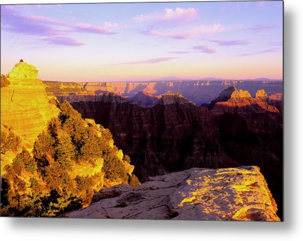Couple Enjoys Grand Canyon Sunset Metal Print by Alan Lenk
