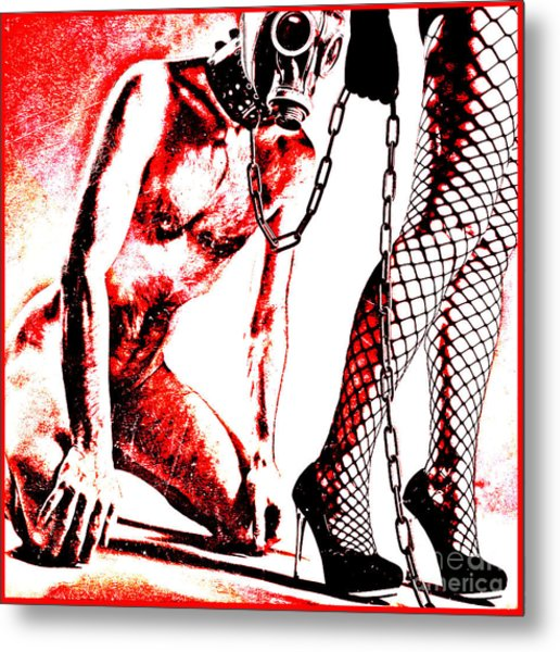 Couple Nude In Bdsm Play And Image Finished In Digital Dots Art  Metal Print