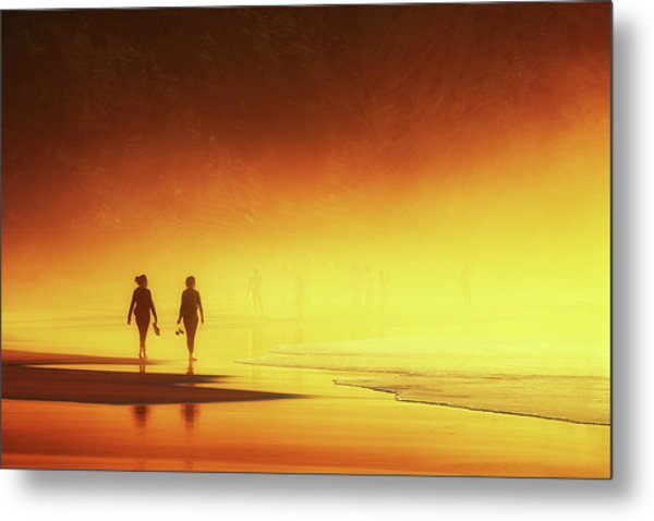 Couple Of Women Walking On Beach Metal Print