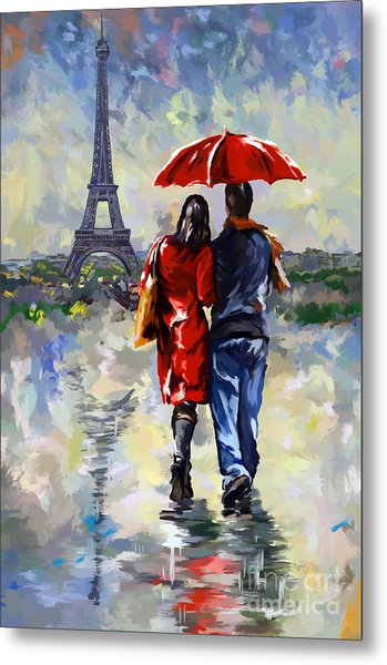 couple walking in the rain Paris Metal Print