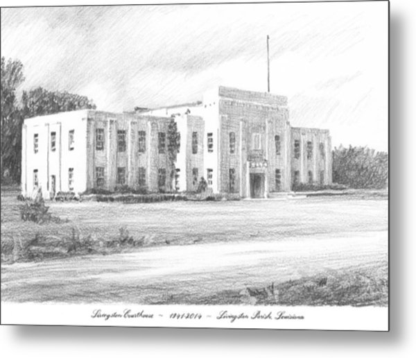 Courthouse Four Livingston Parish La Drawing Metal Print by Mike Theuer