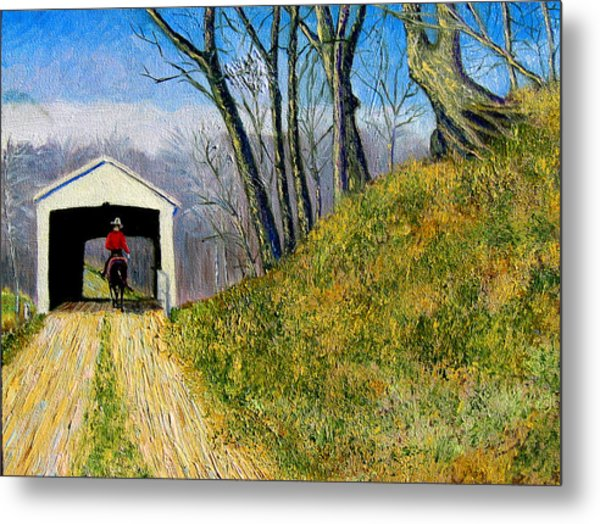 Covered Bridge And Cowboy Metal Print by Stan Hamilton
