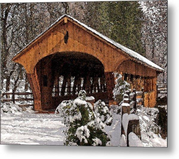 Covered Bridge At Olmsted Falls-winter-2 Metal Print
